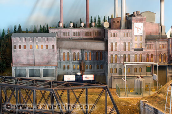 Here is an example of one kitbash project that I did here at SMARTT using the above Heljan kit. We used three kits for this powerhouse in O scale. As you can see, the Heljan kit can easily be made into a large O scale structure. Even though it sells as an HO kit, it does supply both HO and O scale doors. Photo SMARTT.