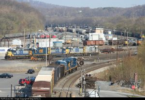 Rail yard at Brunswick, MD. note the MARC service facility at center-left  photo Greg Dahbura Railpictures.net