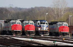 MARC trains lined up at the Brunswick MD service facility Photo by Jeffrey Kestner on railpictures.net