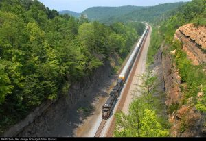 """A former """"Rat Hole"""" tunnel now daylighted outside of Keno, KY, this must have been a massive earth moving effort, Photo Railpictures.net Ron Flanary"""