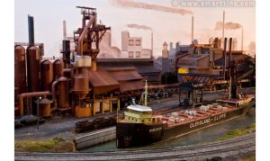 Here is an overall view of the steel making end of the Cleveland Flats. The ore boat is the William G. Mather.