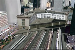 The Boston South Station is captured from its hard to see back face using the Google Earth 3D building feature