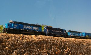 Three different Pan AM locomotive paint schemes. Photo from Railpictures.net