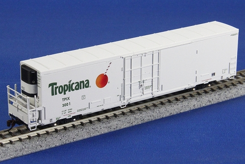 BLMA's N scale model of Tropicana's new 64' refrigerator car, photo BLMA.