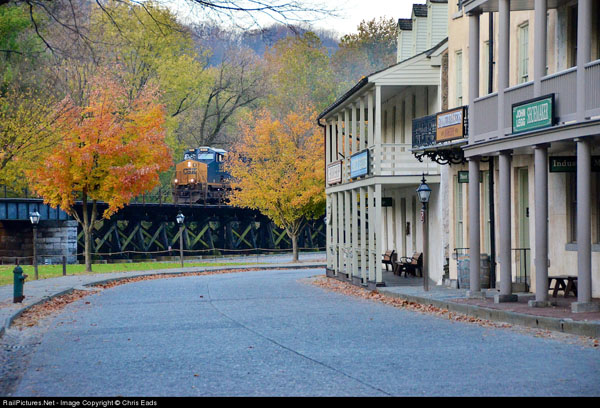 The Rock Runner CSX train Q 751 running through Harpers Ferry on the Shenandoah sub. Photo by Chris Eads from railpictures.net