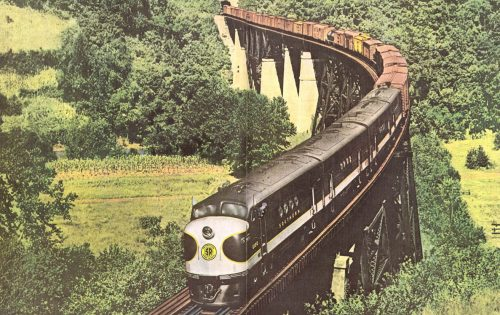 Southern Railway FT locomotives on the CNO&TP Bridge over the Cumberland River, print from Kentucky Railfan