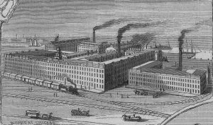 A woodcut image of the McCormick Harvesting Machine Co. - image, Machine History.com