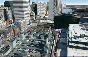 Boston captured in 3D via Google Earth's 3D buildings feature, saved via the save image feature.