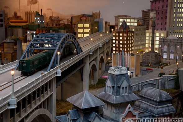 You don't see extensive bridges running through the center of cities too often, but this replica of Cleveland's Veteran's Memorial Bridge is a nice example.