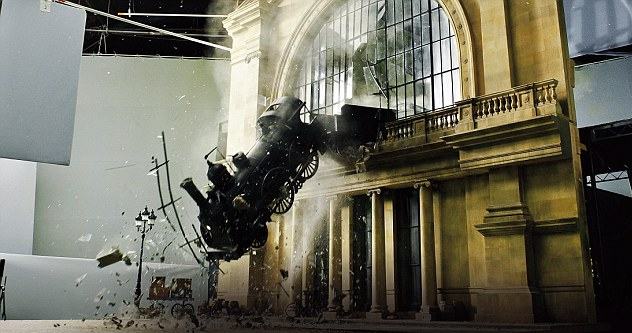 Re-enacted train crash at Monteparnasse from Martin Scorsese's film Hugo photo from ozzienews.com