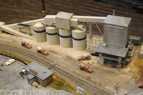 Here is a nice example of a scratch-built model of a cement plant. The model is based on an article  that appeared in Model Railroader magazine a few years back.