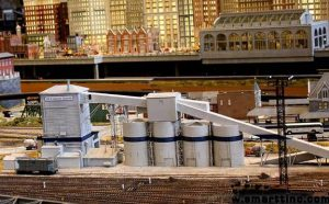 scratch-built model of a cement plant