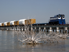 NASA's railroad transports Solid Rocket Booster components.