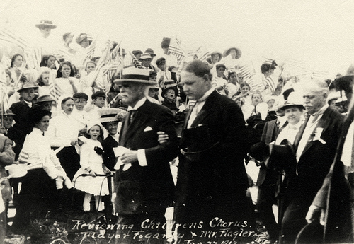 Florida East Coast Railway, Key West Extension. Henry Flagler and Mayor Fograty of Key West during the arrival of the First Train on January 22, 1912. From the Monroe County Library Collection.