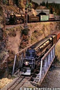O scale below coexists with HO above in this Ohio layout