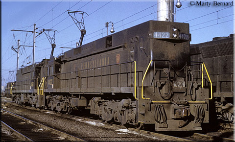 PRR power at Pot Yard, E-44's and GG-1's share the ready track with a SD-45. Photo Marty Bernard