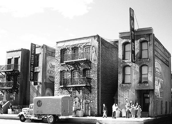 Plaster models make good cities, when skillfully assembled. Photo from Downtown Deco's site