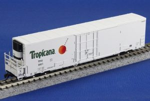 BLMA's N scale model of Tropicana's new 64' refrigerator car, photo BLMA.