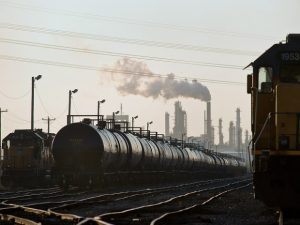 The railroads and the petroleum industry are becoming more and more interdependent on each other.  This will bring more and more unit tank trains on US rails over the next decade. Many in the railroad industry feel that even if the Keystone XL pipe line is built, it will not take any business away from them, photo financialpost.com.